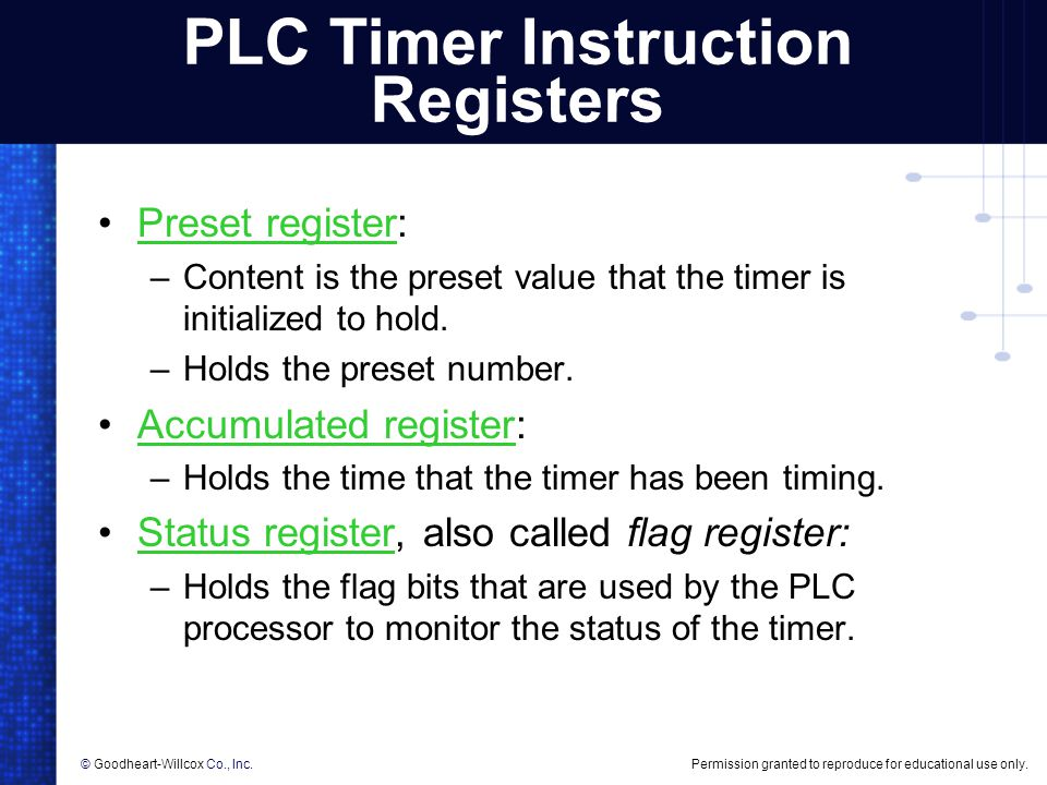 PLC Timer Instruction Registers
