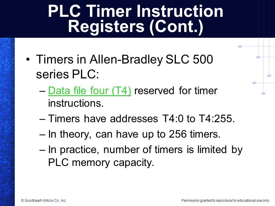 PLC Timer Instruction Registers (Cont.)