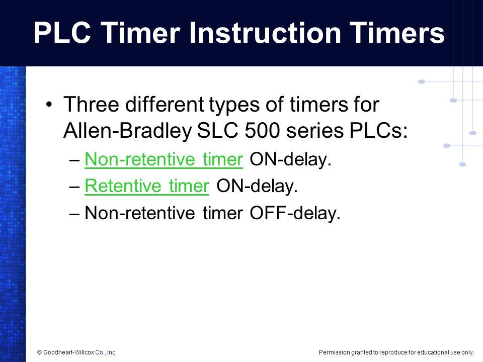 PLC Timer Instruction Timers