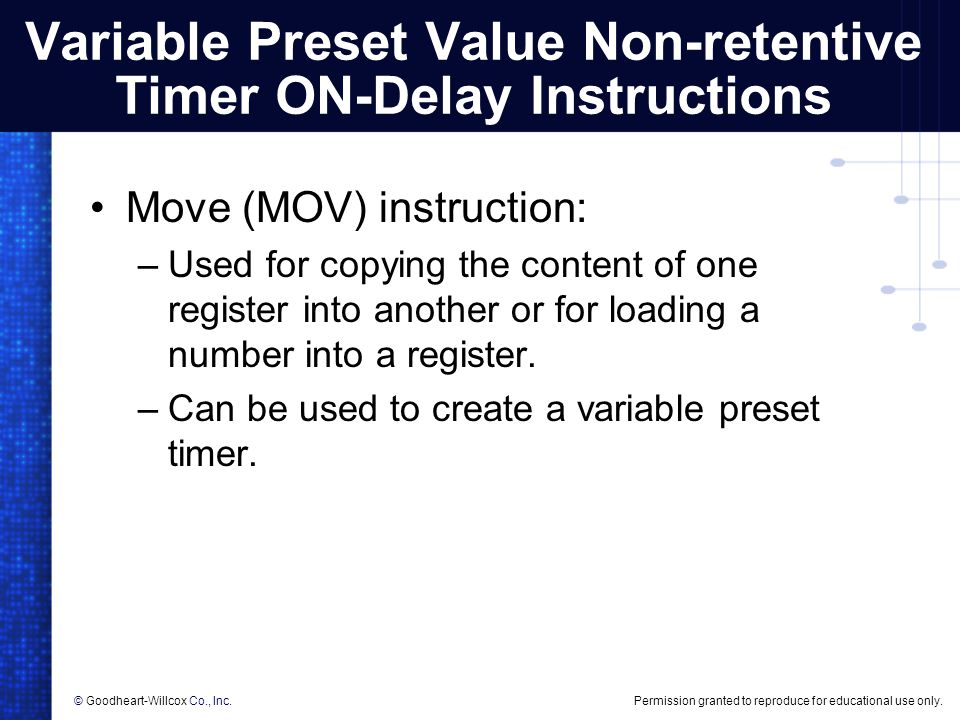 Variable Preset Value Non-retentive Timer ON-Delay Instructions