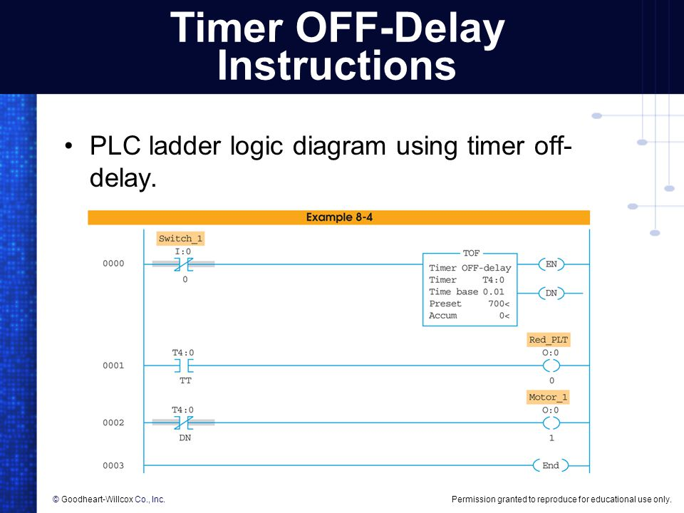 Timer OFF-Delay Instructions