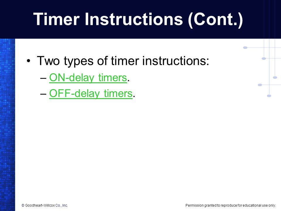 Timer Instructions (Cont.)