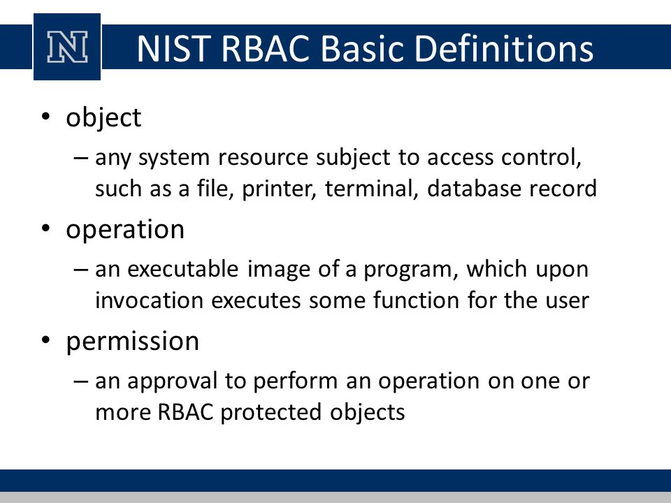NIST RBAC Basic Definitions