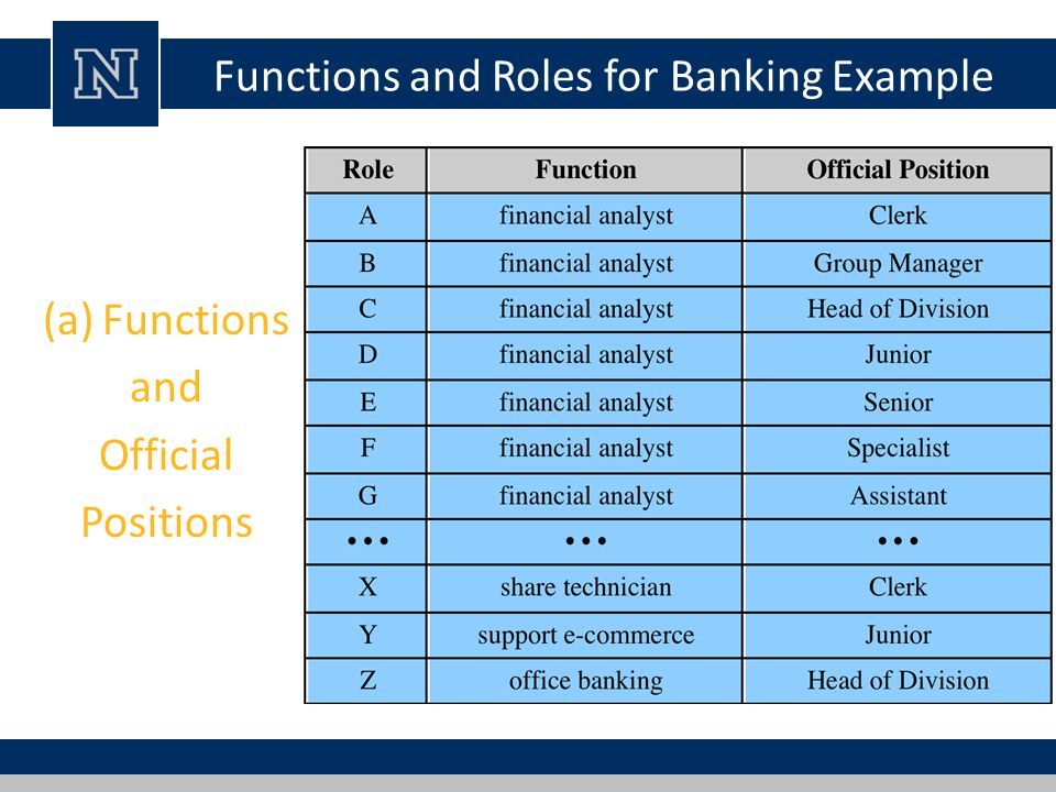 Functions and Roles for Banking Example