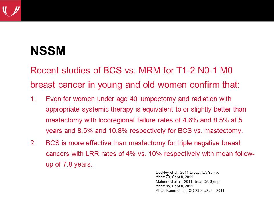 NSSM Recent studies of BCS vs. MRM for T1-2 N0-1 M0 breast cancer in young and old women confirm that: