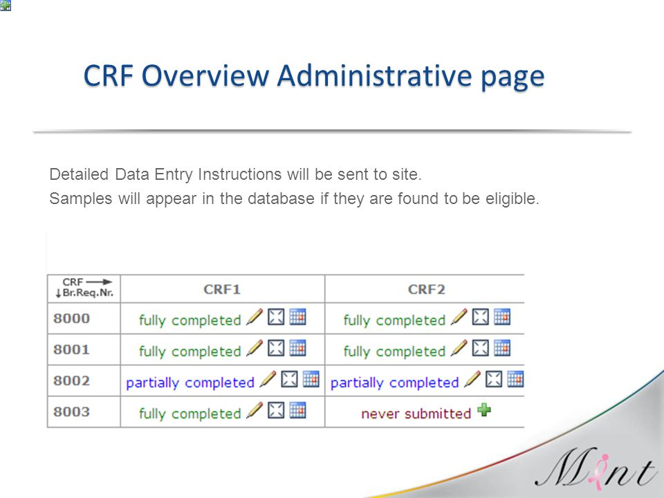 CRF Overview Administrative page