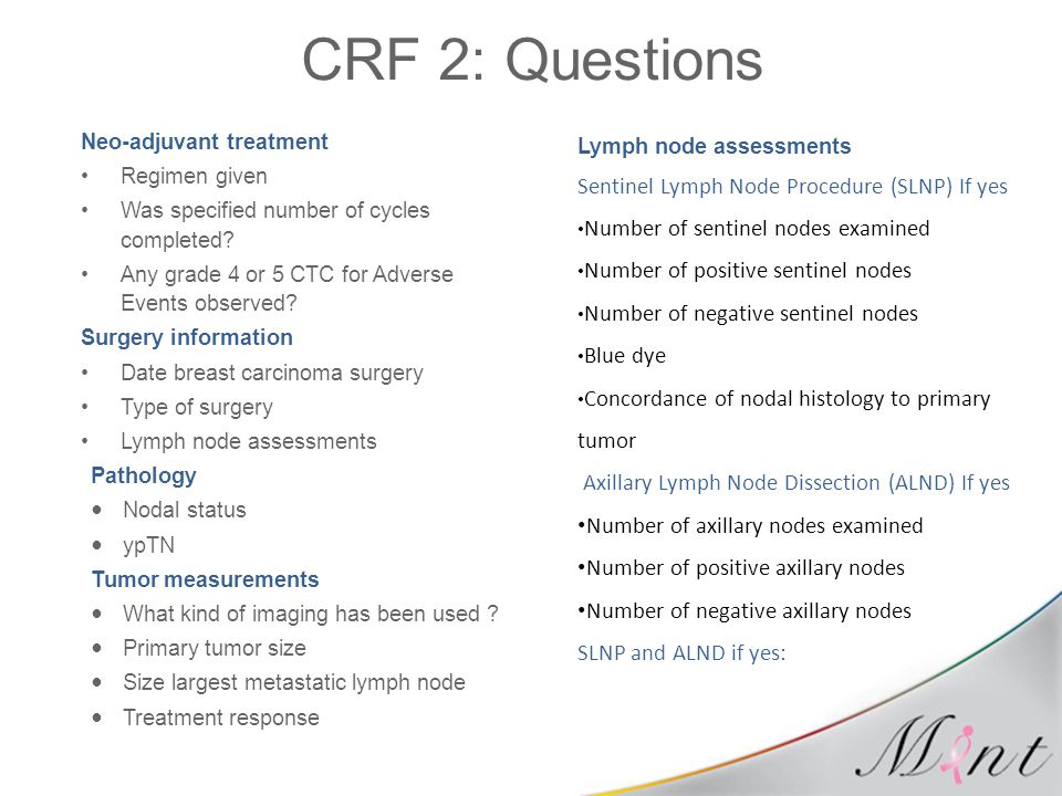 CRF 2: Questions Sentinel Lymph Node Procedure (SLNP) If yes