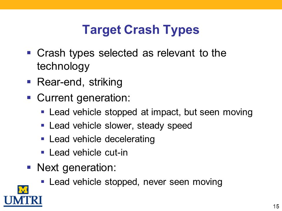 Target Crash Types Crash types selected as relevant to the technology