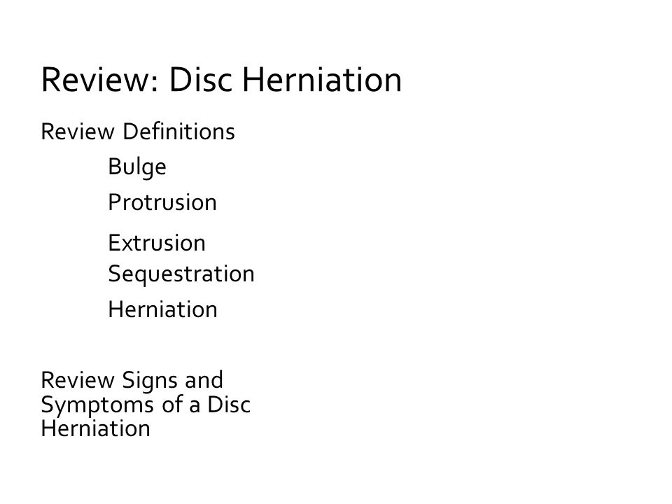 Review: Disc Herniation
