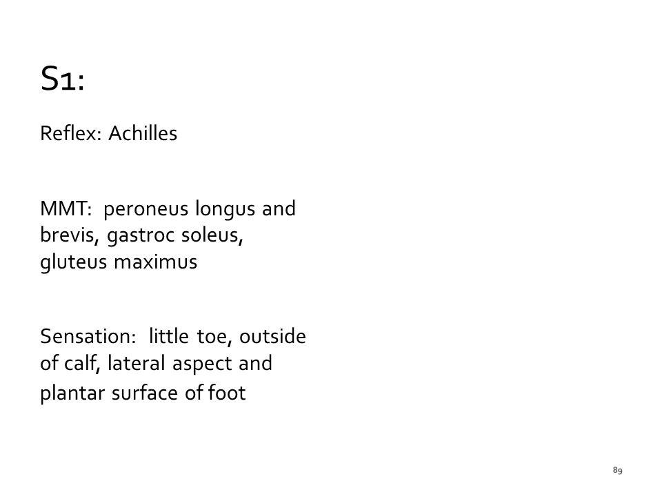 S1: Reflex: Achilles. MMT: peroneus longus and brevis, gastroc soleus, gluteus maximus.