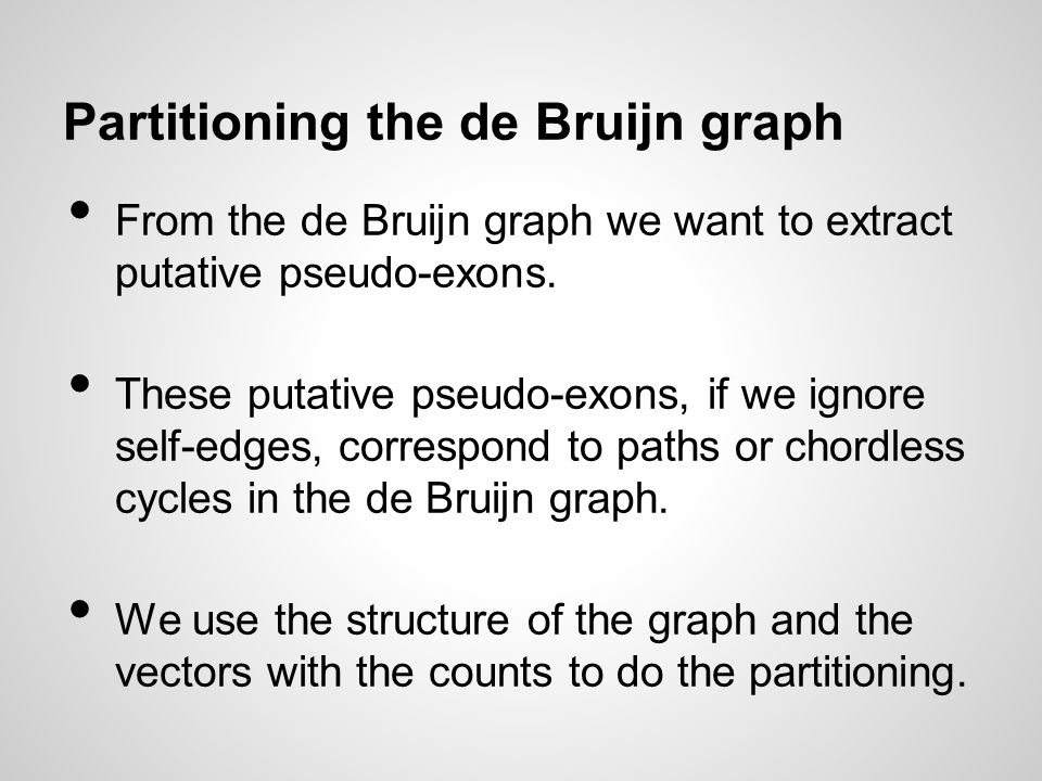 Partitioning the de Bruijn graph