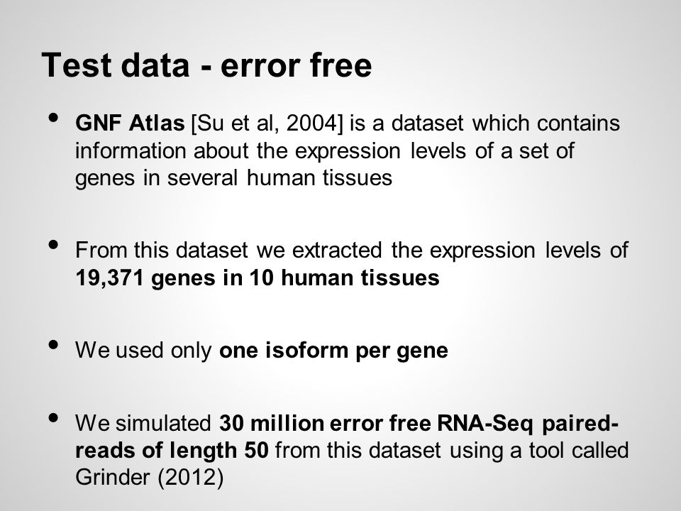 Test data - error free
