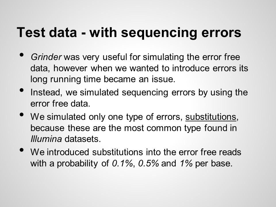 Test data - with sequencing errors