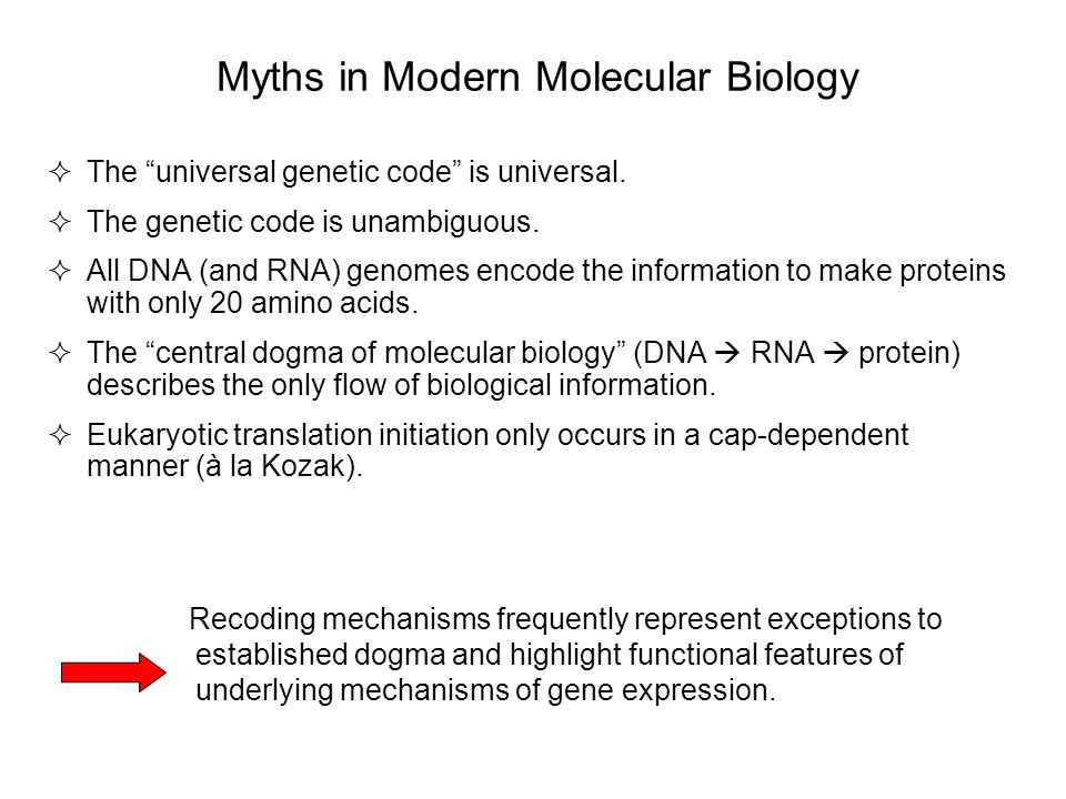 Myths in Modern Molecular Biology