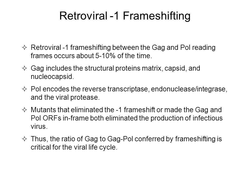 Retroviral -1 Frameshifting