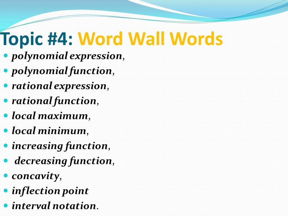 Topic #4: Word Wall Words