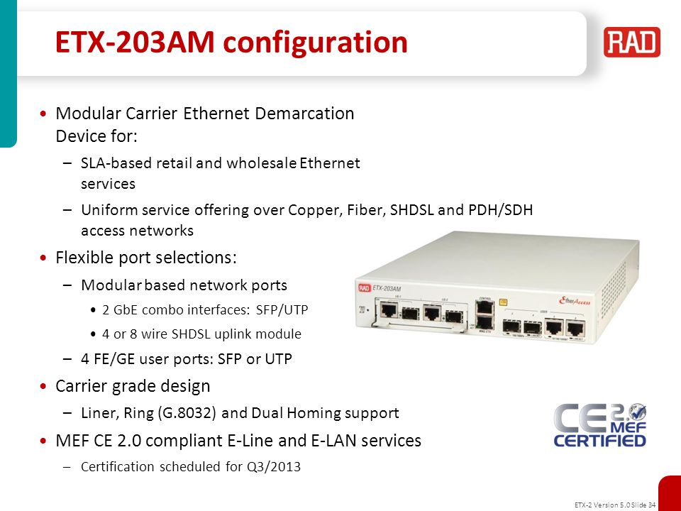 ETX-203AM configuration Modular Carrier Ethernet Demarcation Device for: SLA-based retail and wholesale Ethernet services.