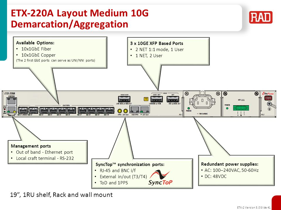ETX-220A Layout Medium 10G Demarcation/Aggregation