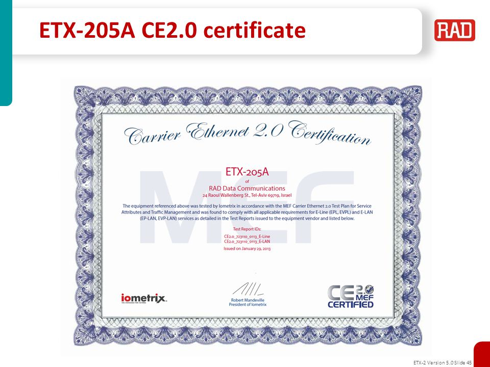ETX-205A CE2.0 certificate