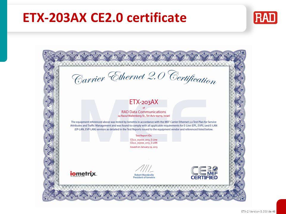 ETX-203AX CE2.0 certificate