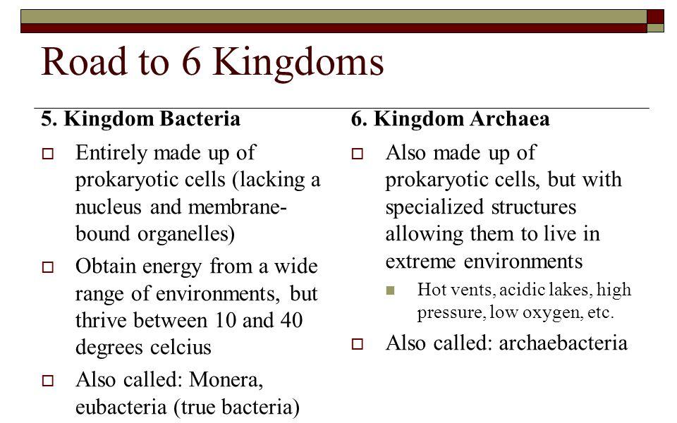Road to 6 Kingdoms 5. Kingdom Bacteria 6. Kingdom Archaea