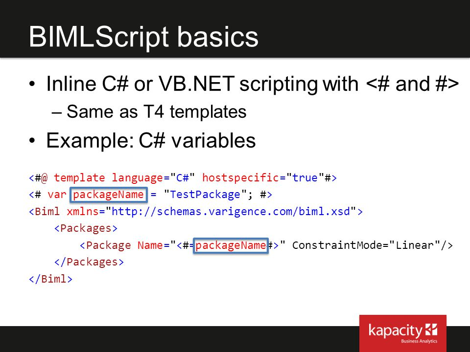 BIMLScript basics Inline C# or VB.NET scripting with <# and #>