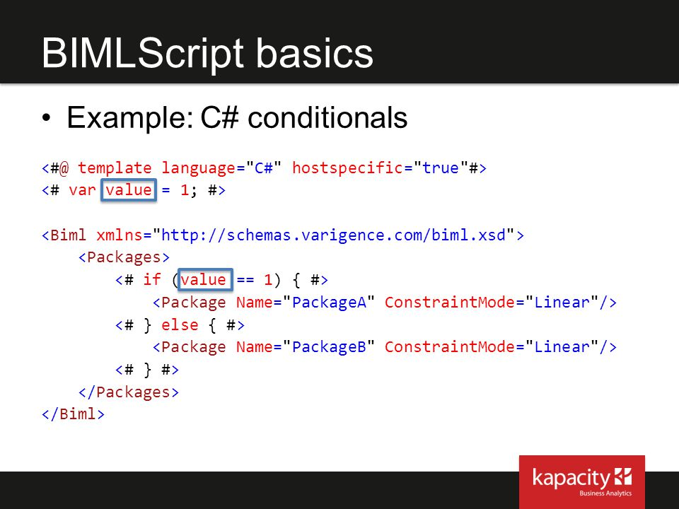 BIMLScript basics Example: C# conditionals