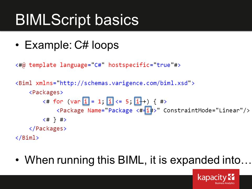 BIMLScript basics Example: C# loops