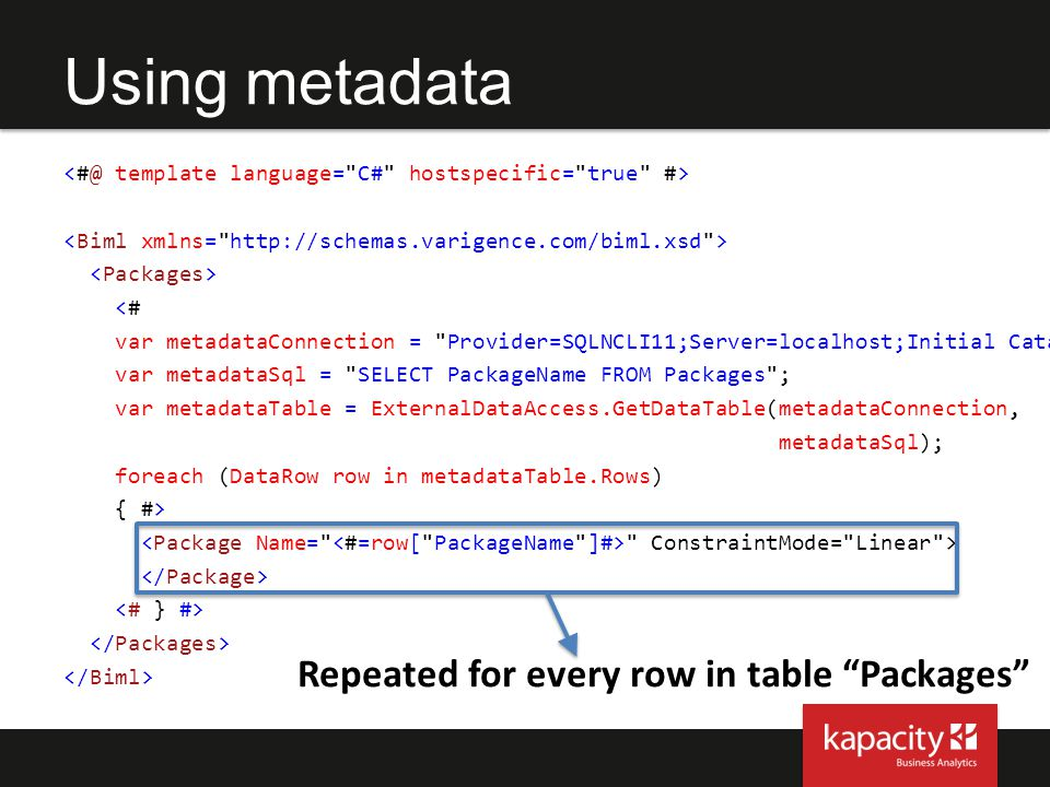 Using metadata Repeated for every row in table Packages