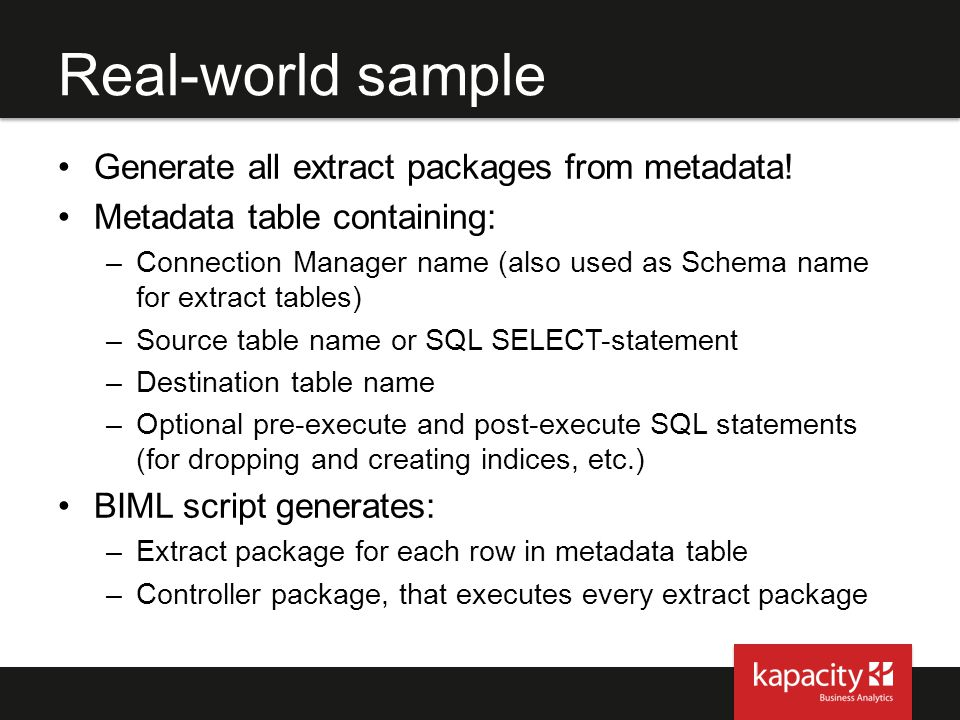 Real-world sample Generate all extract packages from metadata!