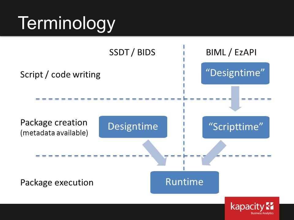 Terminology Designtime Designtime Scripttime Runtime SSDT / BIDS