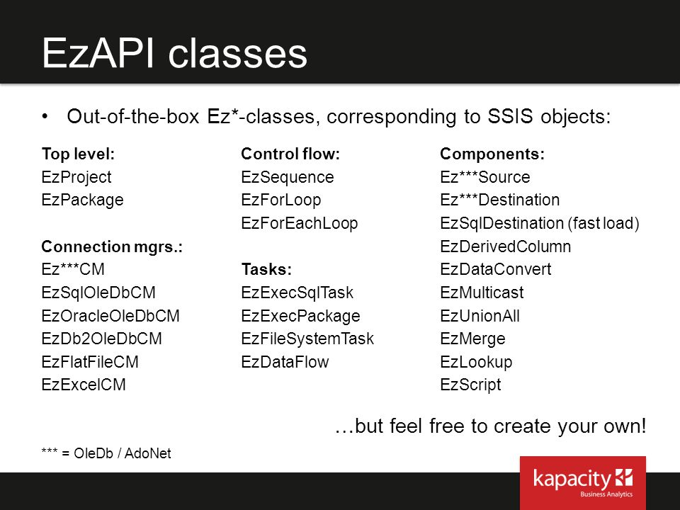 EzAPI classes Out-of-the-box Ez*-classes, corresponding to SSIS objects: Top level: Control flow:
