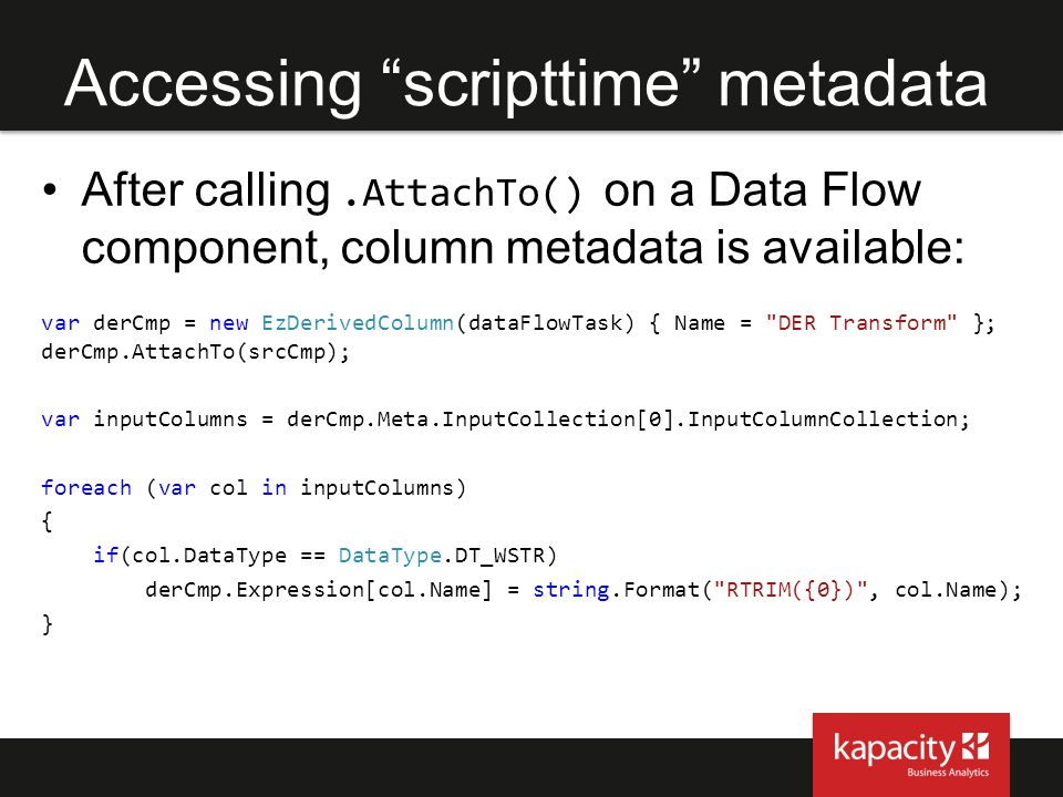 Accessing scripttime metadata
