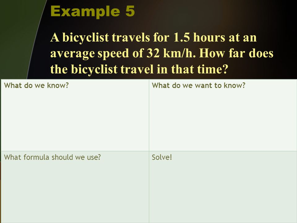 Example 5 A bicyclist travels for 1.5 hours at an average speed of 32 km/h. How far does the bicyclist travel in that time