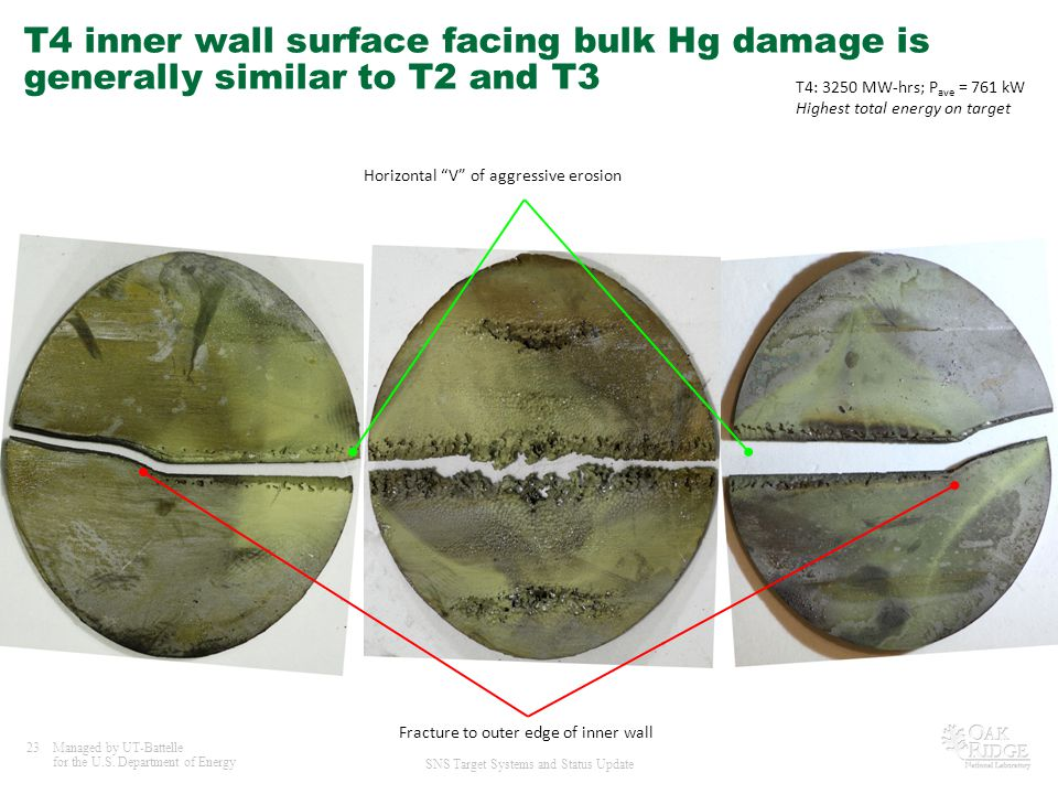 T4 inner wall surface facing bulk Hg damage is generally similar to T2 and T3
