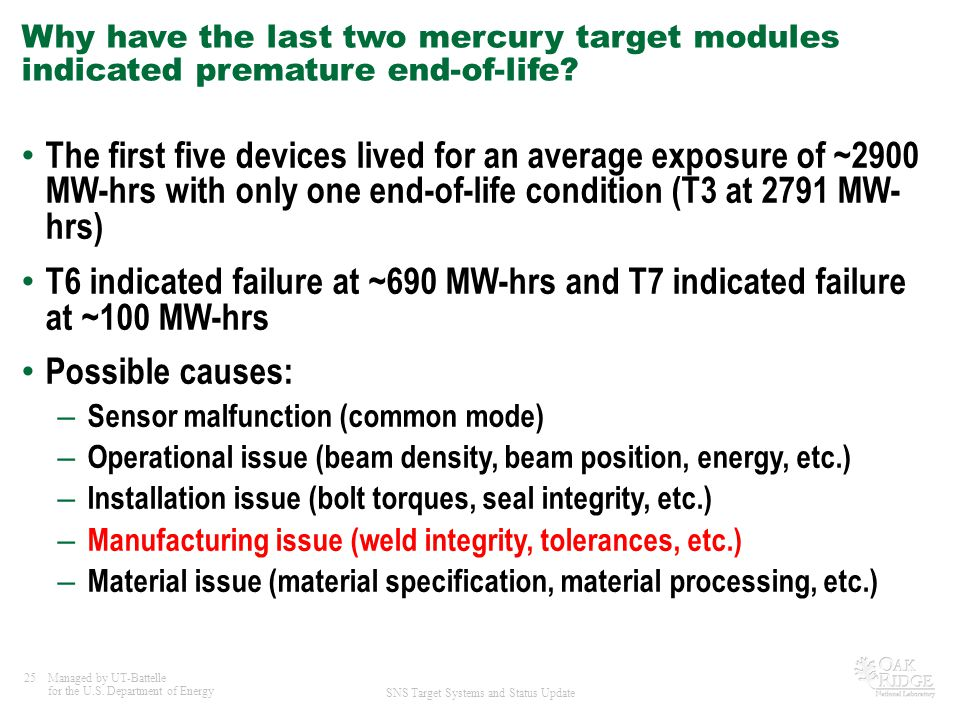 Why have the last two mercury target modules indicated premature end-of-life