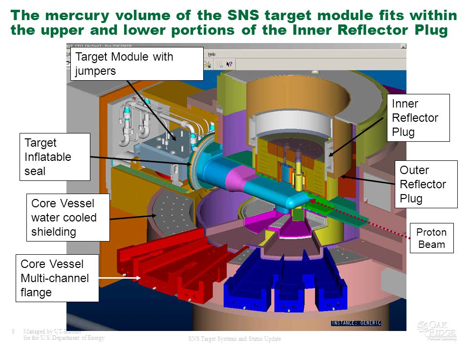 The mercury volume of the SNS target module fits within the upper and lower portions of the Inner Reflector Plug