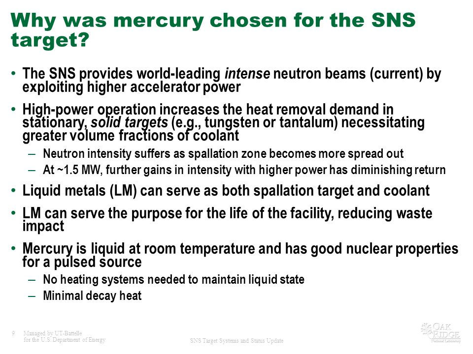 Why was mercury chosen for the SNS target