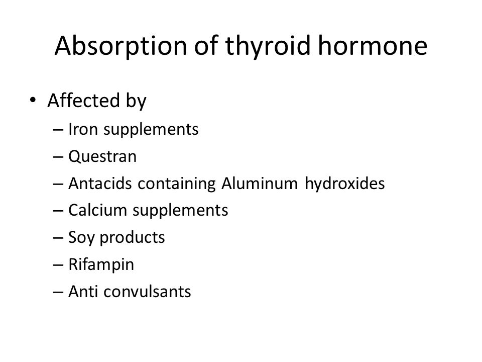 Absorption of thyroid hormone