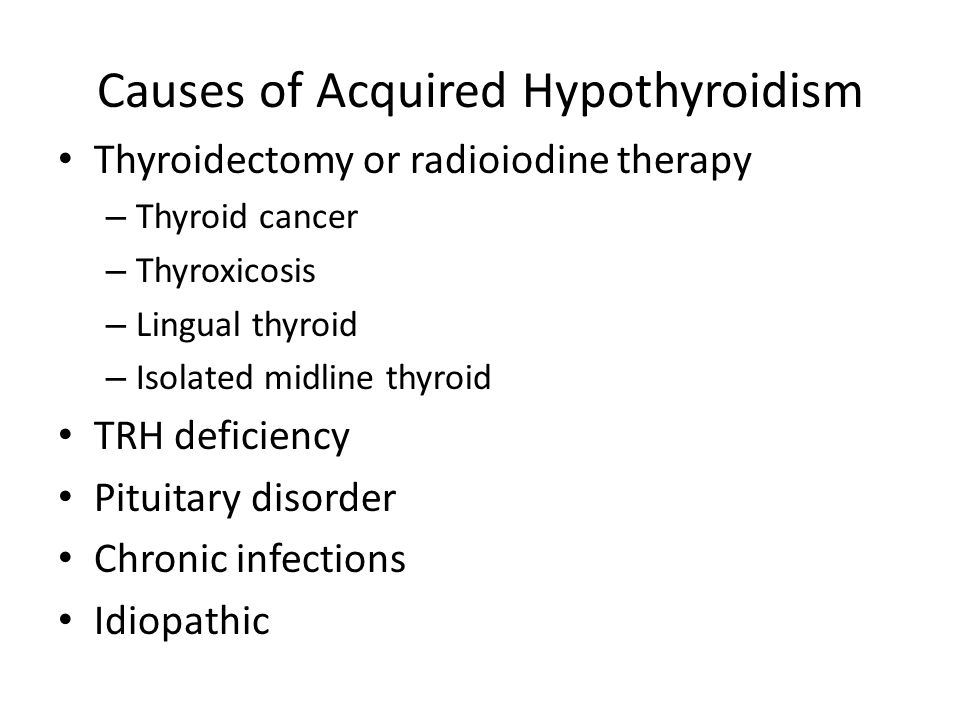 Causes of Acquired Hypothyroidism