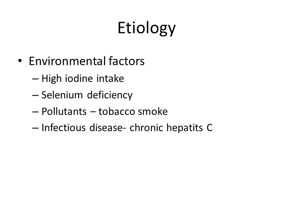 Etiology Environmental factors High iodine intake Selenium deficiency