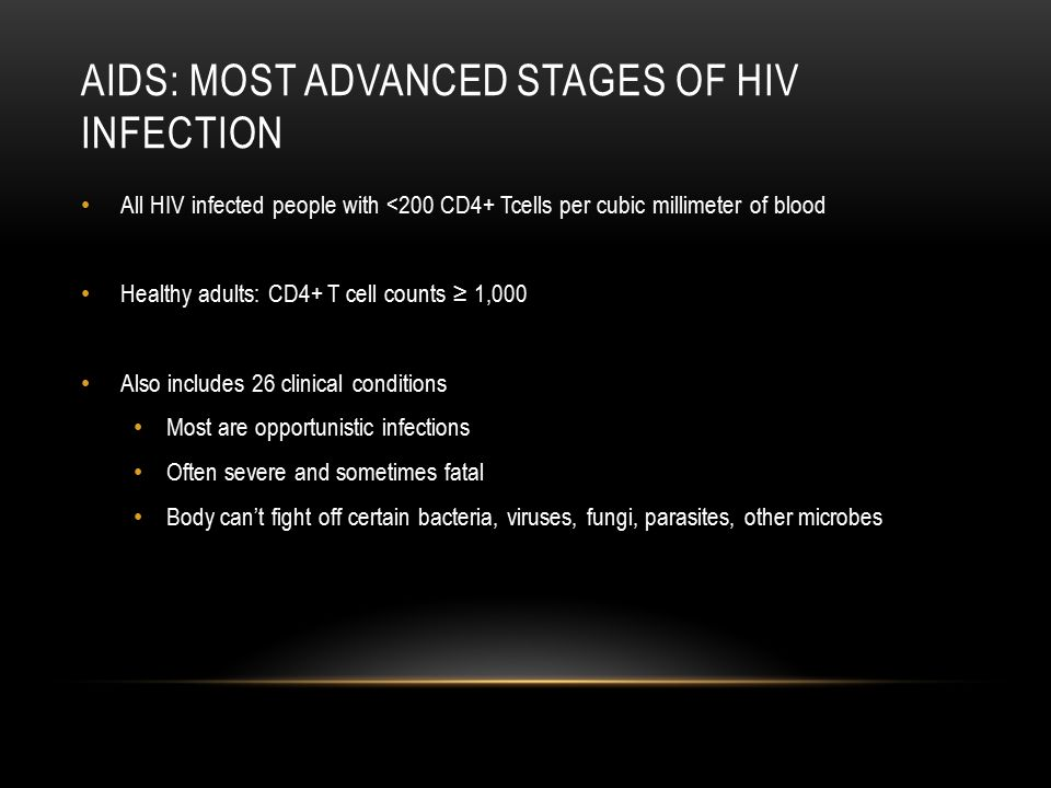 AIDs: Most advanced stages of hiv infection