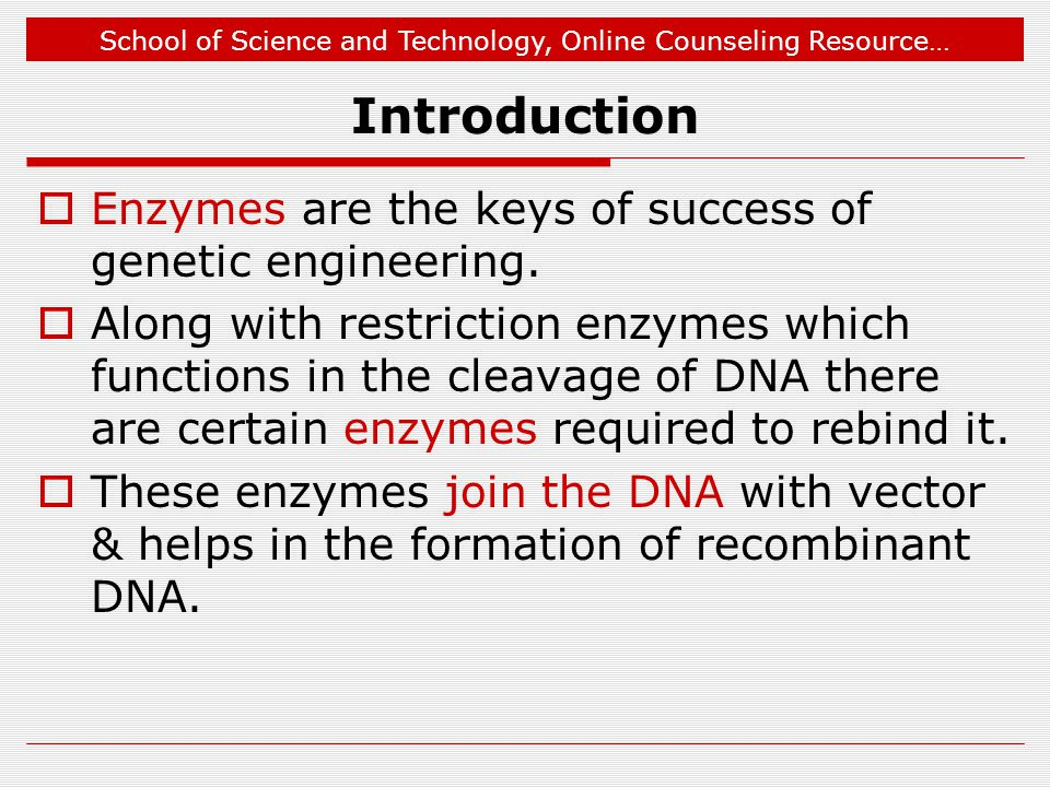Introduction Enzymes are the keys of success of genetic engineering.