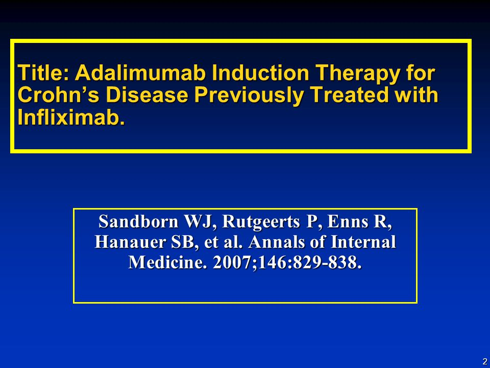 Title: Adalimumab Induction Therapy for Crohn's Disease Previously Treated with Infliximab.