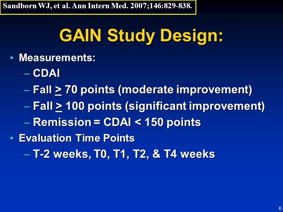 GAIN Study Design: Fall > 100 points (significant improvement)