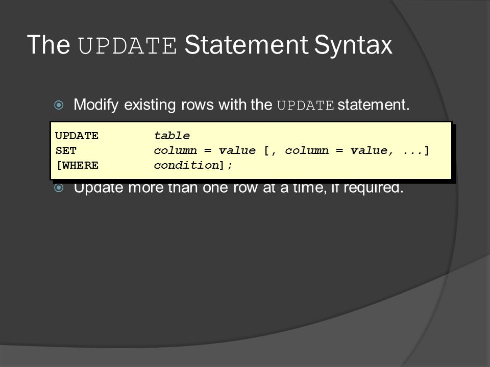 The UPDATE Statement Syntax