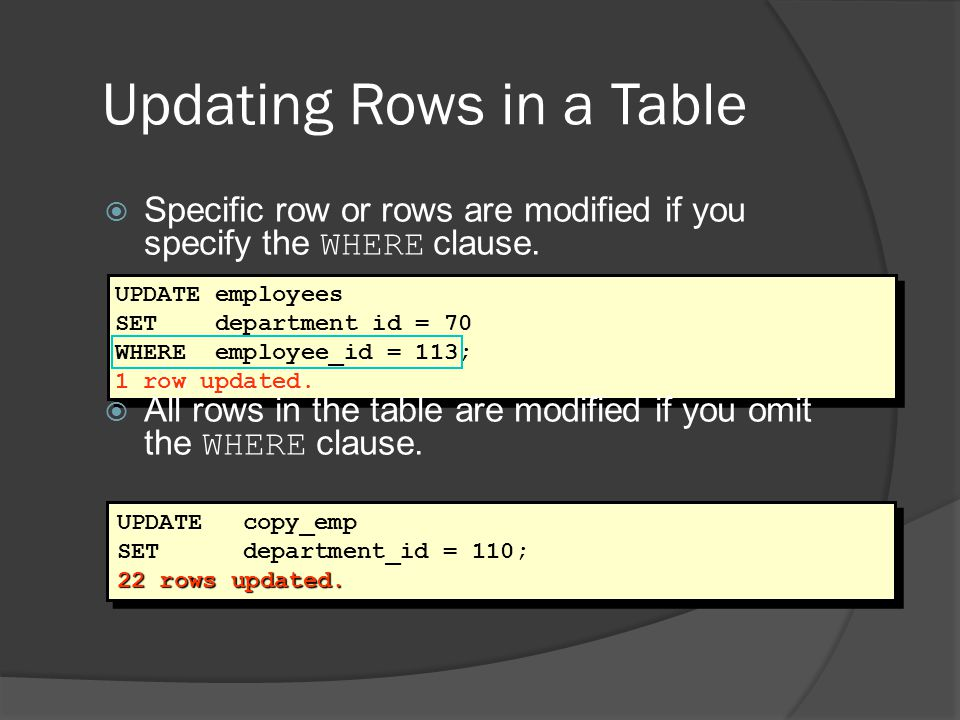 Updating Rows in a Table