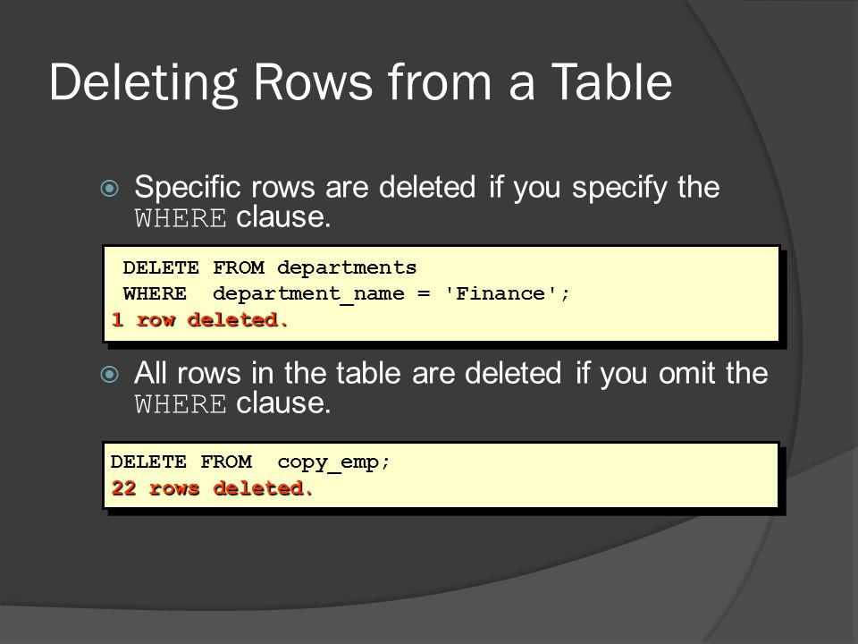 Deleting Rows from a Table