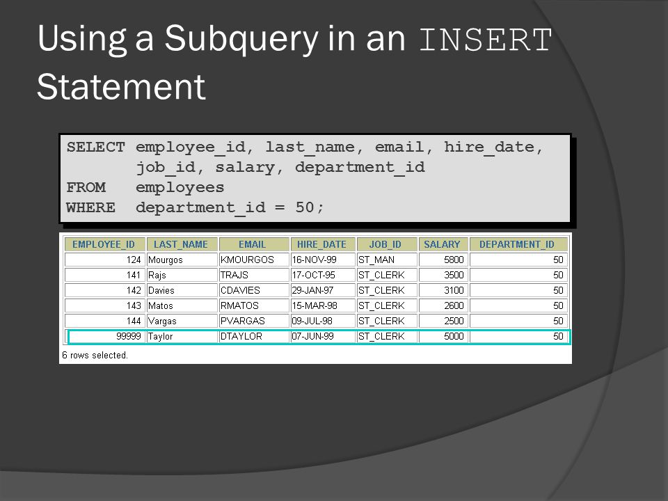 Using a Subquery in an INSERT Statement