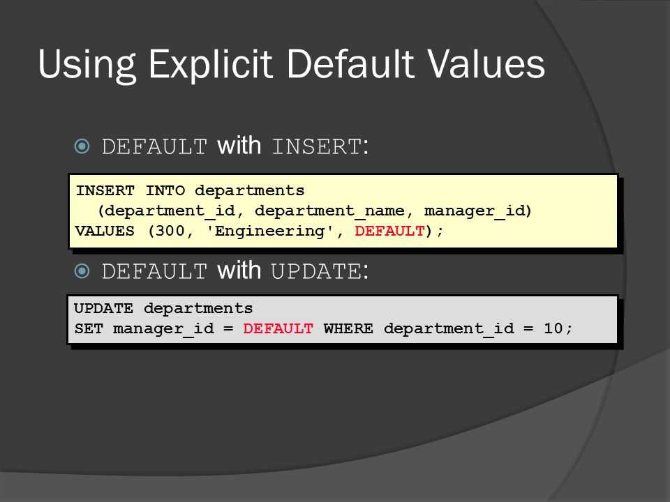Using Explicit Default Values